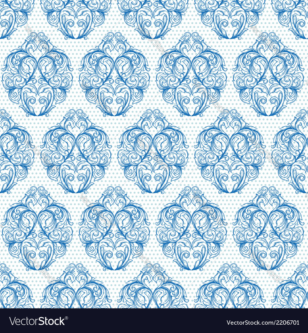 Blue vintage seamless pattern vector | Price: 1 Credit (USD $1)
