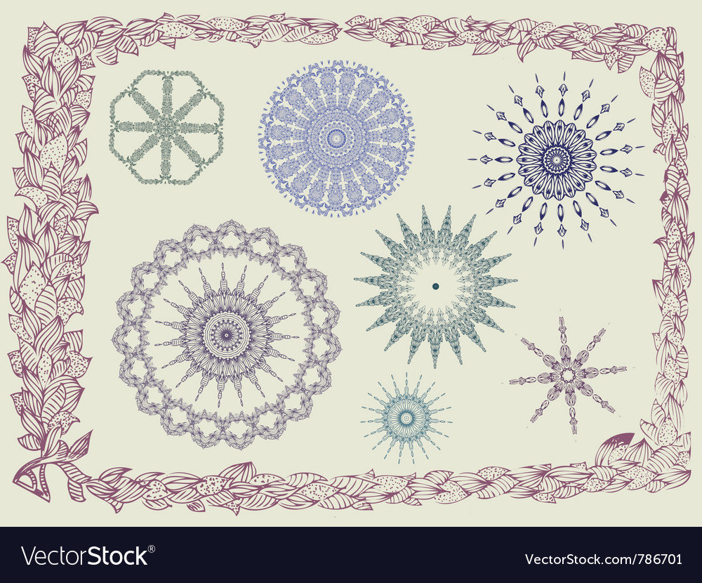 Frame with foliate ornament vector | Price: 1 Credit (USD $1)
