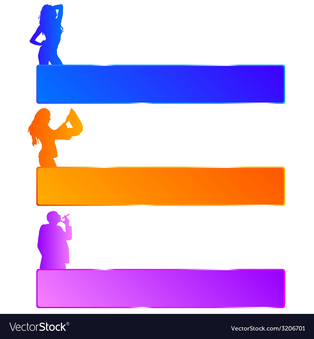 Girl and man in three color with mesagge space vector | Price: 1 Credit (USD $1)