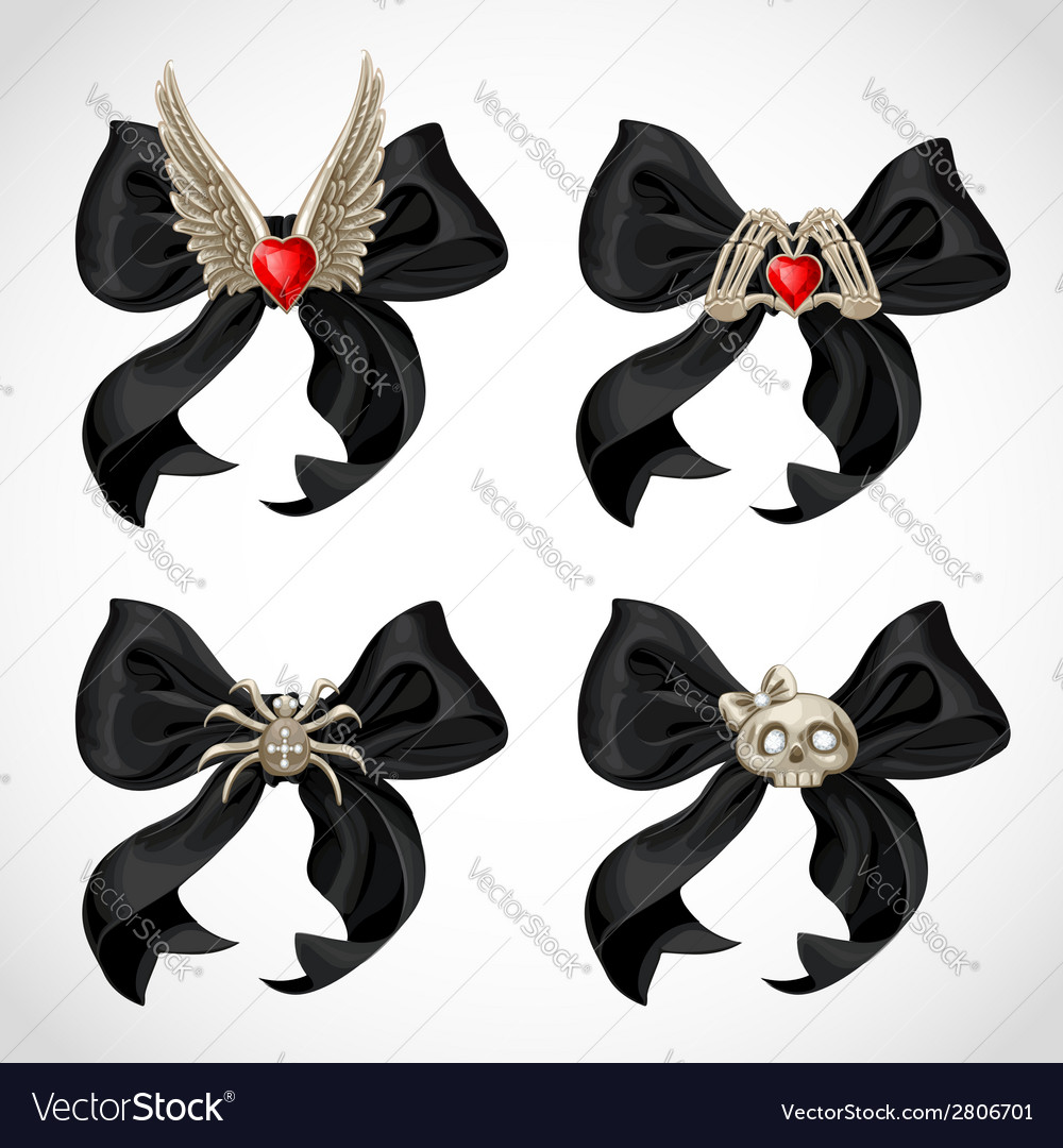 Halloween witch adornment black bow with fun vector | Price: 3 Credit (USD $3)