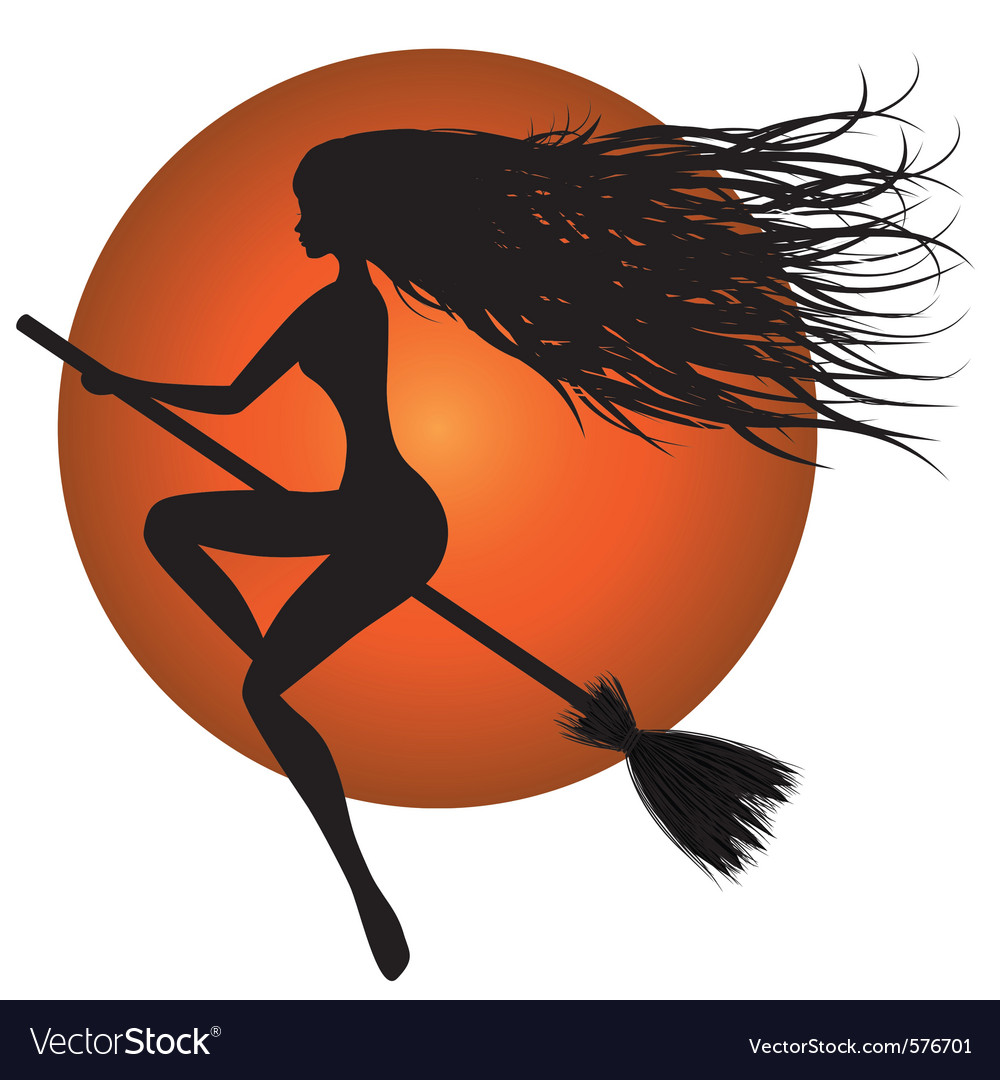 Halloween witch on broomstick vector | Price: 1 Credit (USD $1)