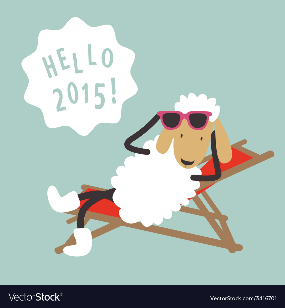 Holiday card with cute sheep vector   Price: 1 Credit (USD $1)