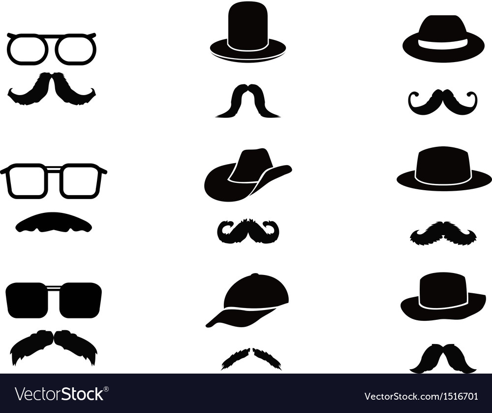 Invisible man with mustache glasses and hats vector | Price: 1 Credit (USD $1)