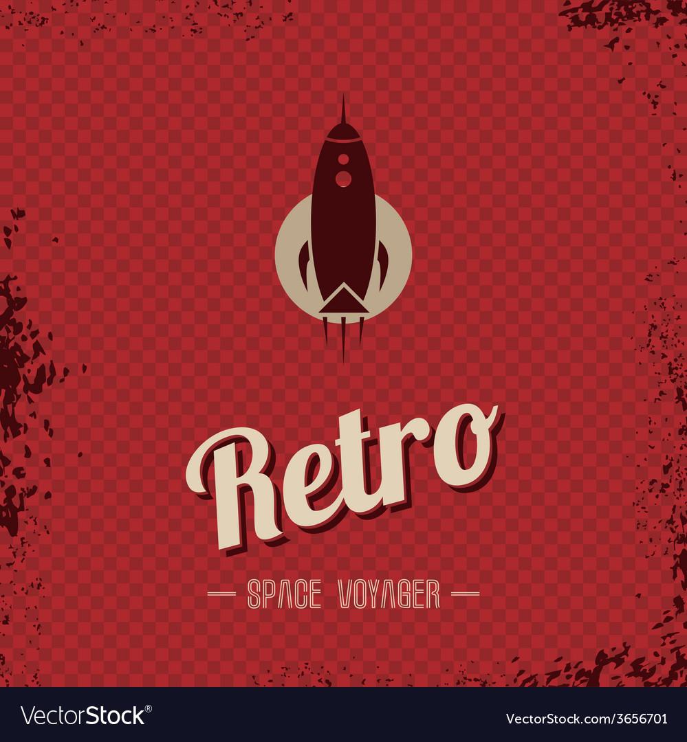 Retro space rocket template theme vector | Price: 1 Credit (USD $1)