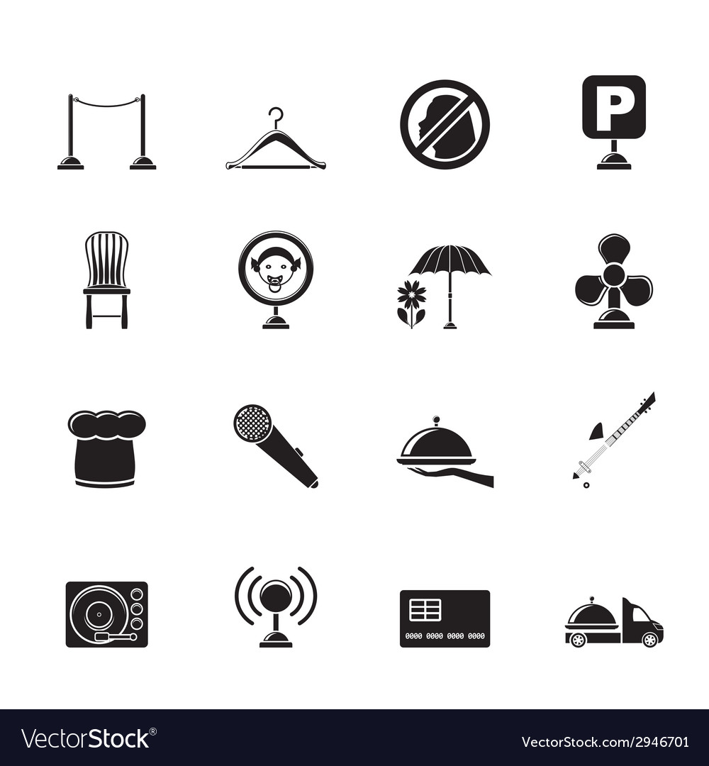 Silhouette restaurant and night club icons vector | Price: 1 Credit (USD $1)