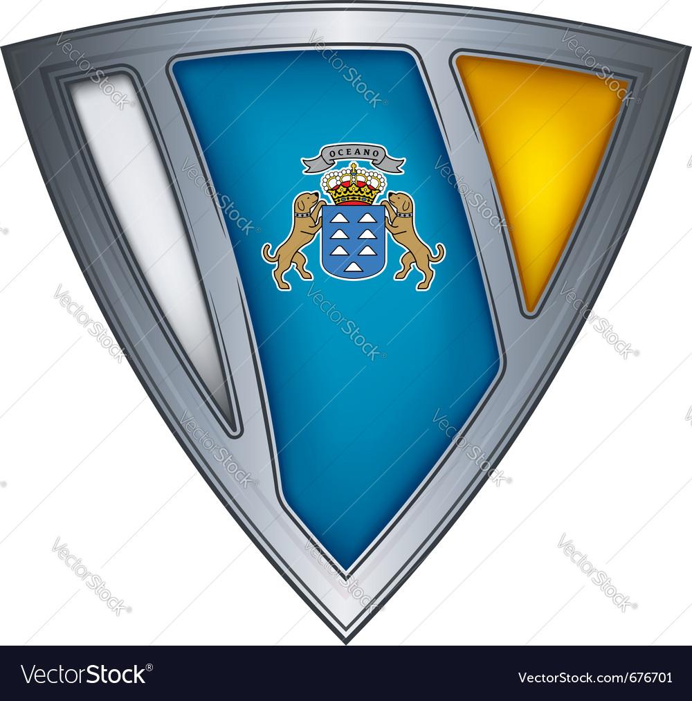 Steel shield canary islands vector   Price: 1 Credit (USD $1)