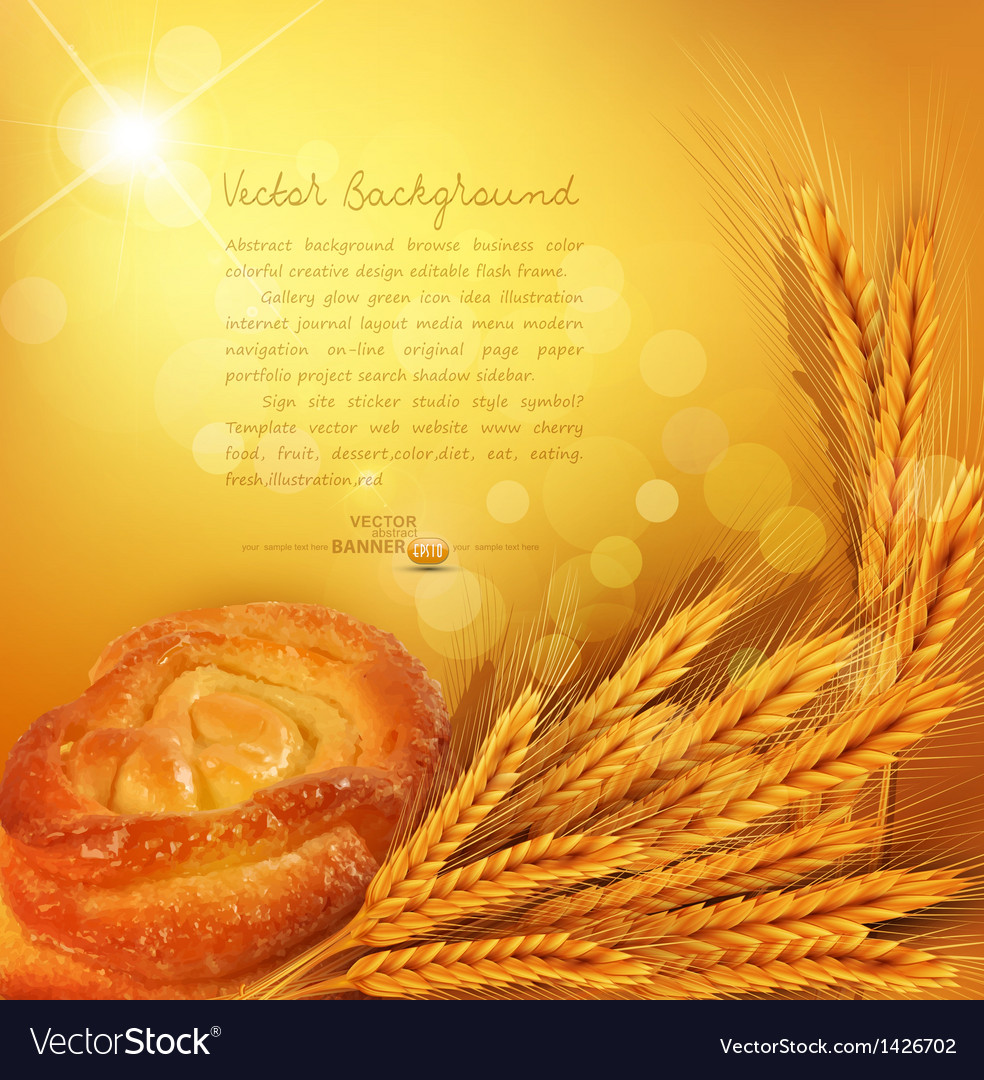 Background with gold ears of wheat bun sunrays vector | Price: 1 Credit (USD $1)