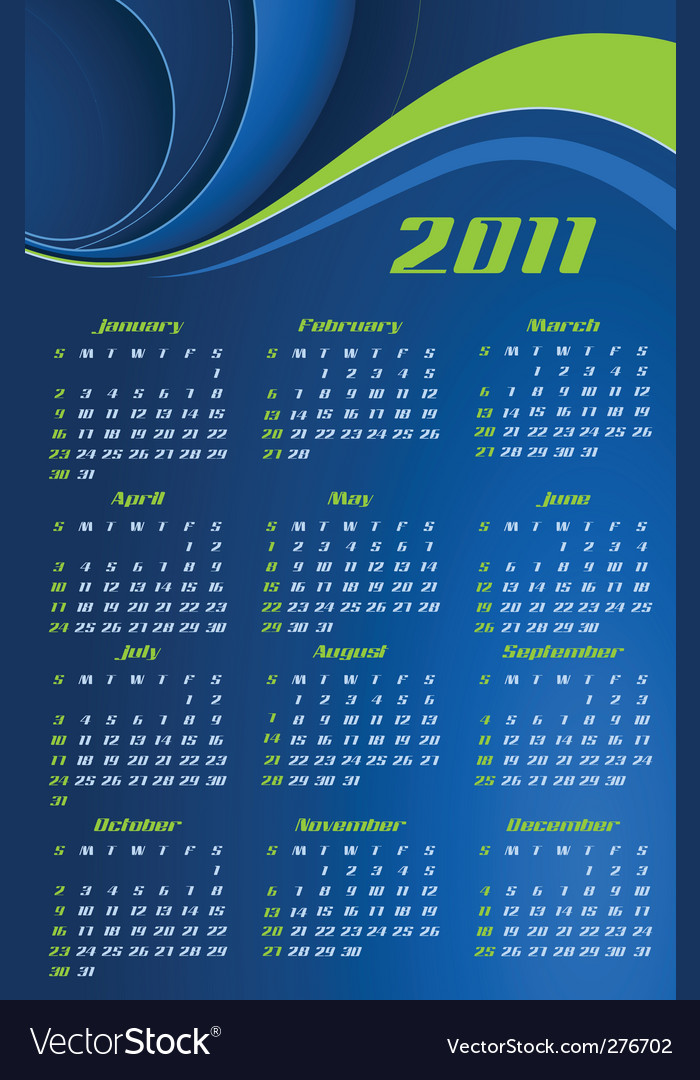 Calendar for 2011 vector | Price: 1 Credit (USD $1)