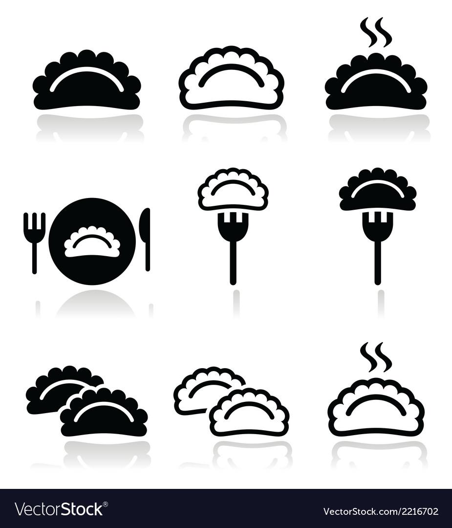 Dumplings food icons set vector | Price: 1 Credit (USD $1)