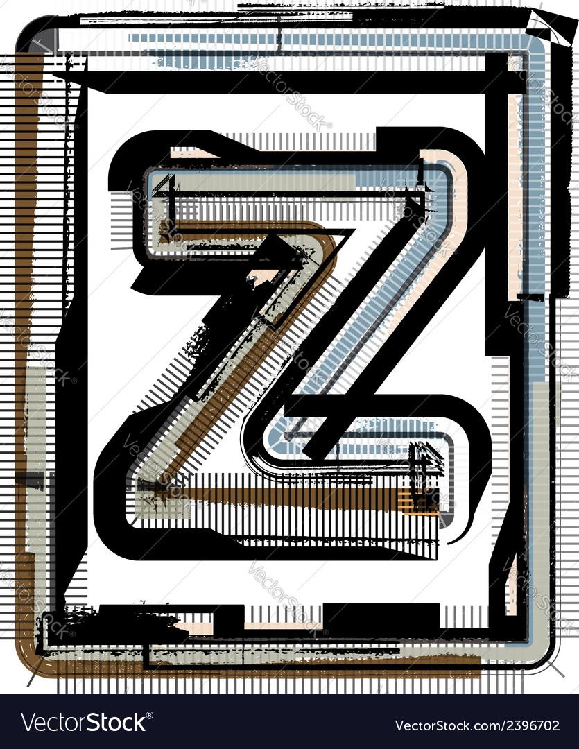 Grunge font letter z vector | Price: 1 Credit (USD $1)