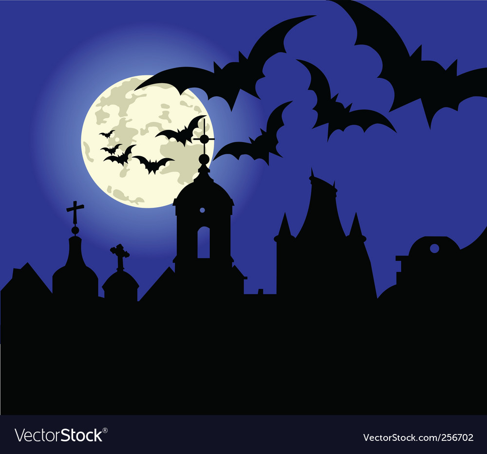 Halloween night in the town vector | Price: 1 Credit (USD $1)
