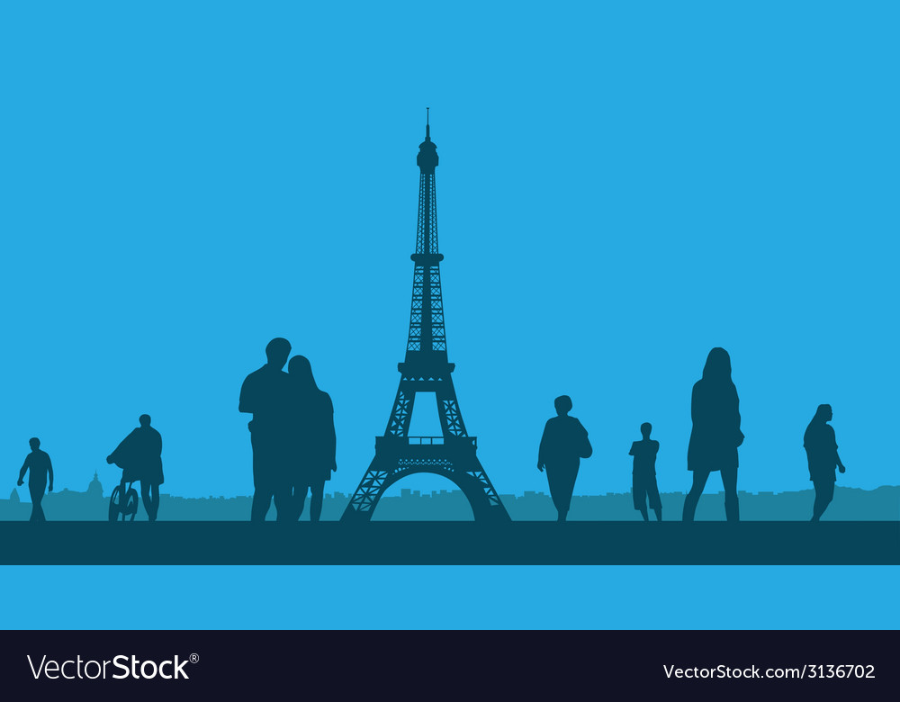 Paris the eiffel tower on a blue background vector | Price: 1 Credit (USD $1)
