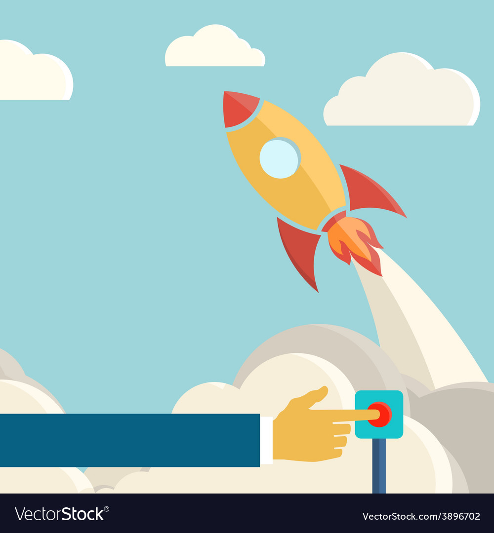 Rocket launch retro background vintage poster vector | Price: 1 Credit (USD $1)