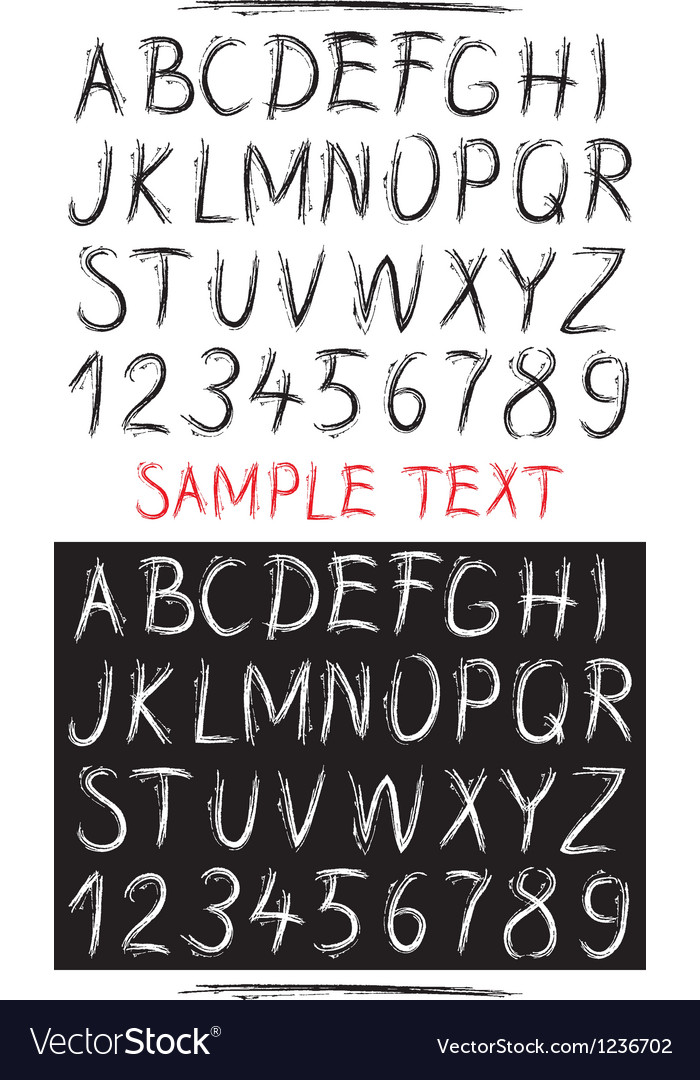 Sketch drawn alphabet vector | Price: 1 Credit (USD $1)
