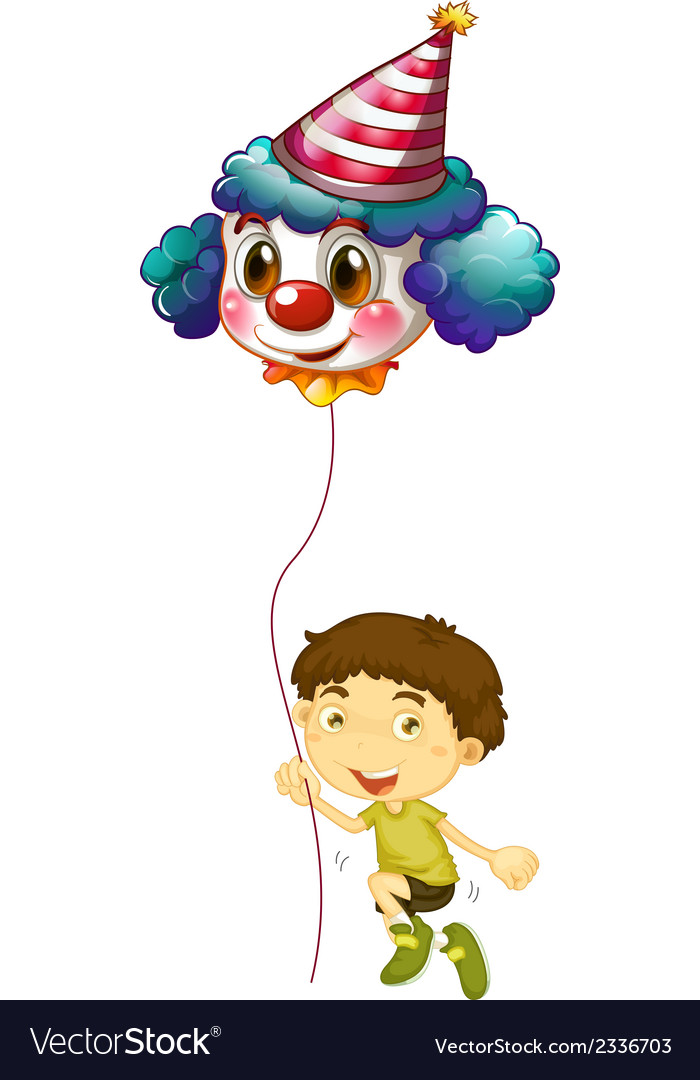 A young boy holding a clown balloon vector | Price: 1 Credit (USD $1)