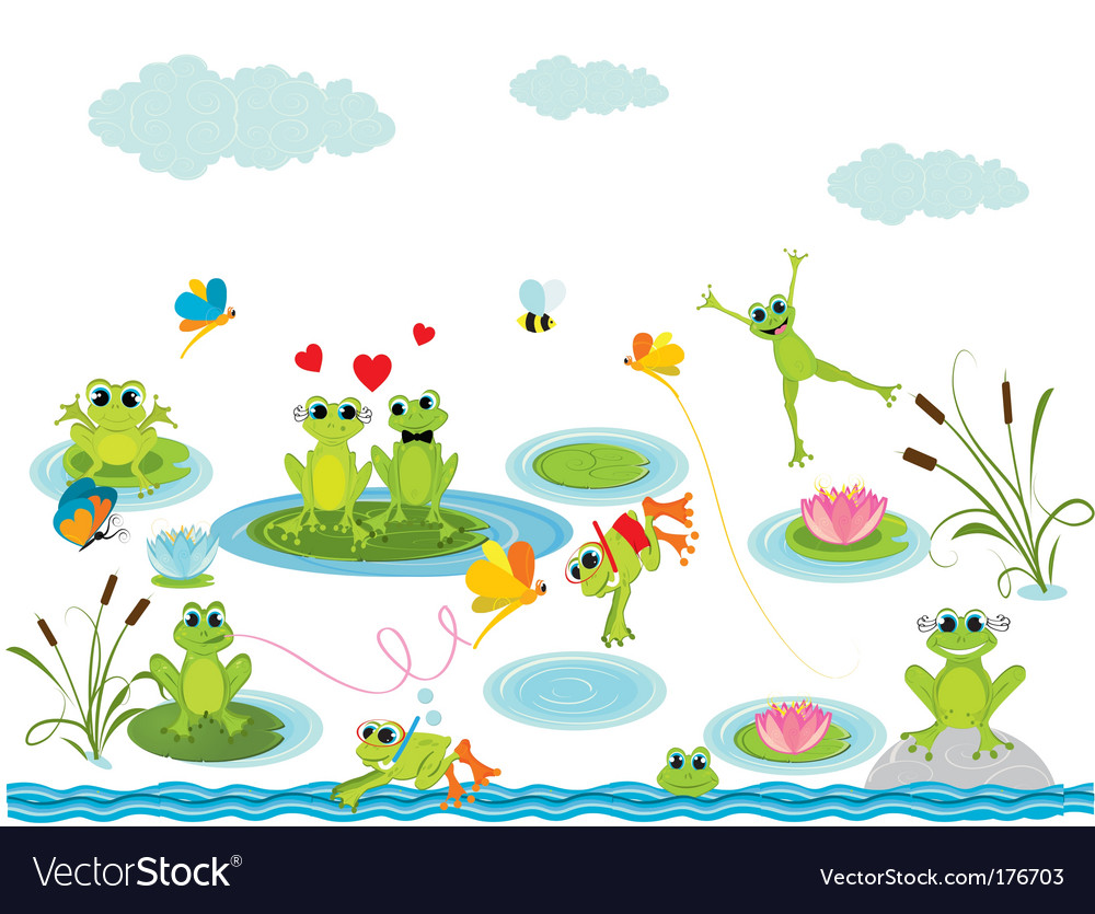 Cartoon frogs vector