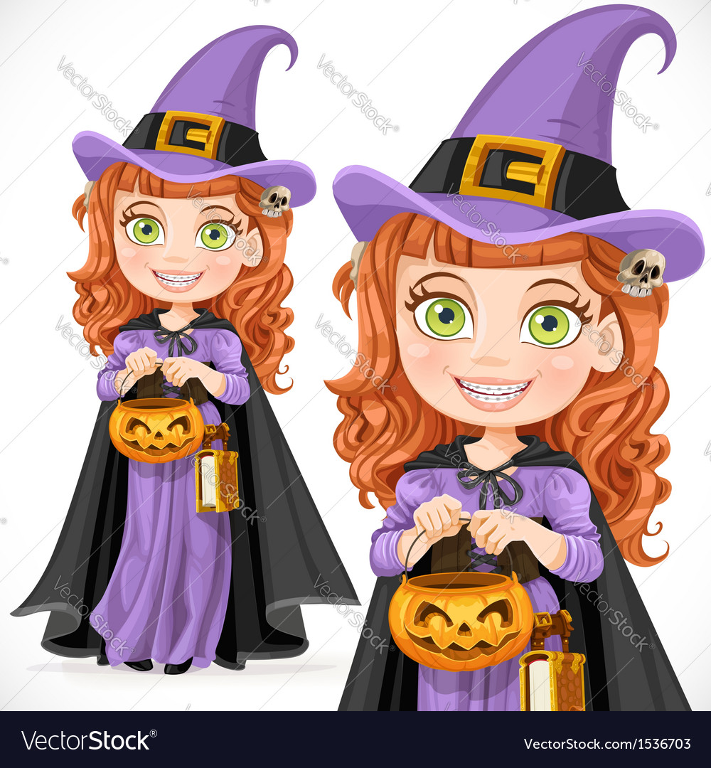 Cute girl witch trick or treat vector | Price: 5 Credit (USD $5)