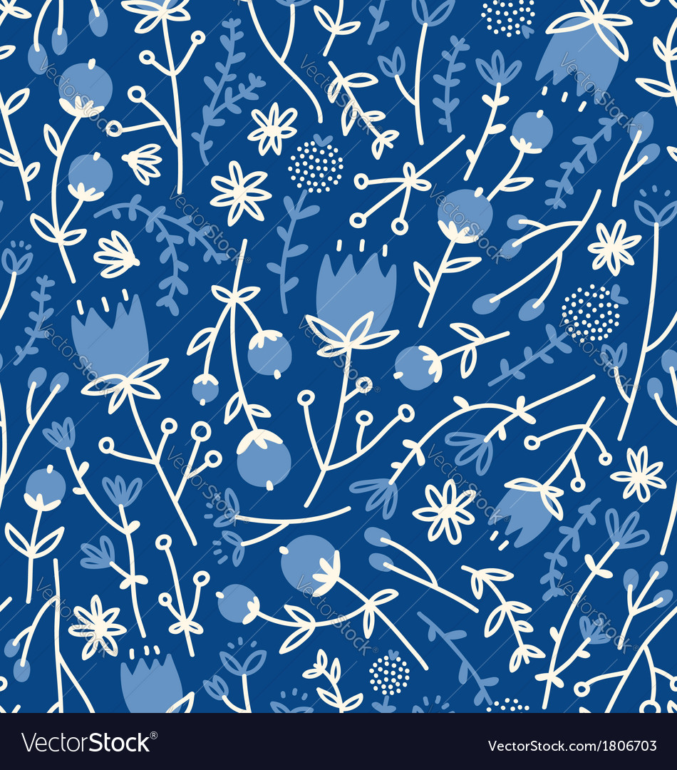 Field flowers doodle pattern 4 vector | Price: 1 Credit (USD $1)