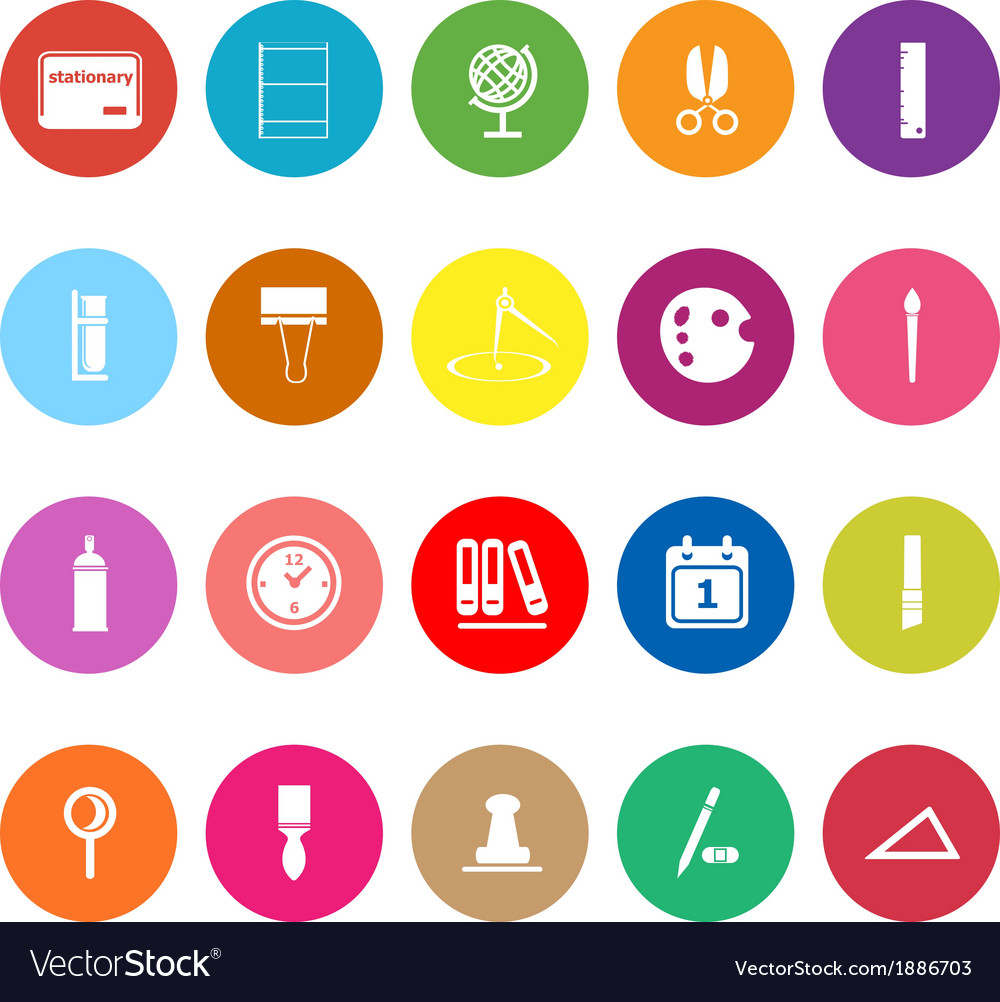 General stationary flat icons on white background vector | Price: 1 Credit (USD $1)