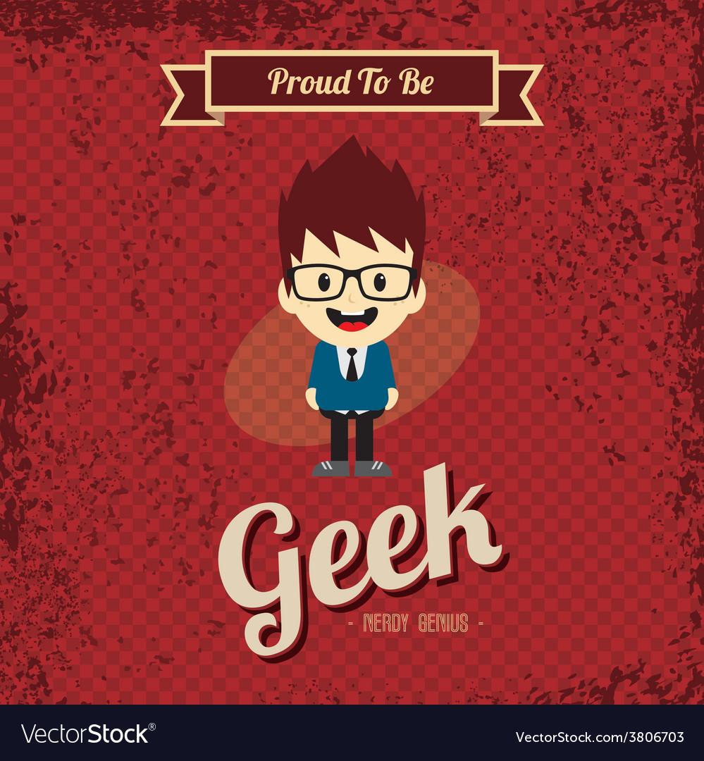 Genius geek retro cartoon vector | Price: 1 Credit (USD $1)