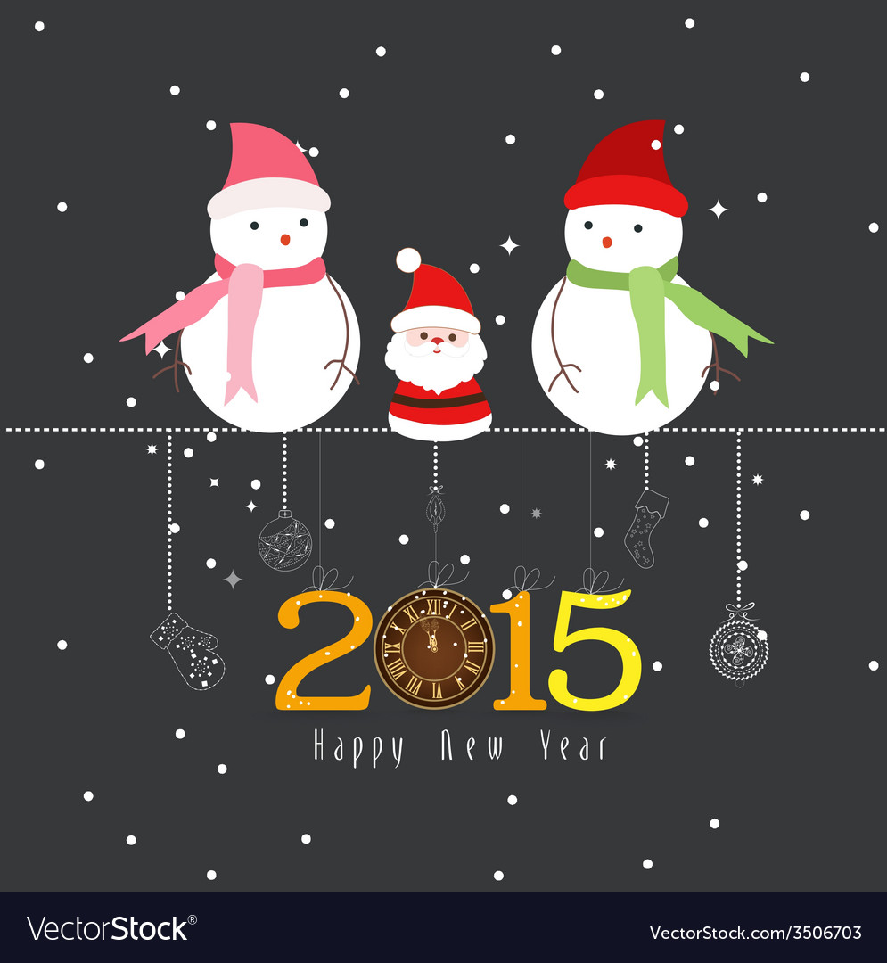 Happy new year the winter vector | Price: 1 Credit (USD $1)