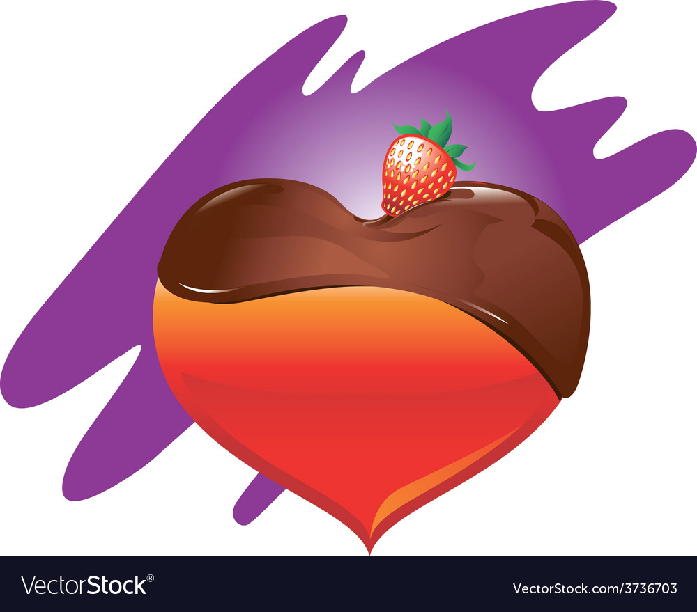 Heart-chocolate-and-strawberry vector | Price: 1 Credit (USD $1)