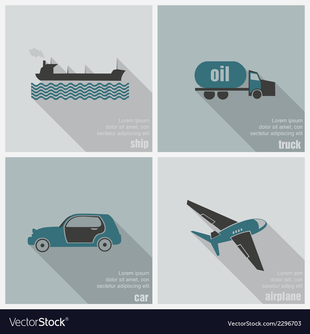 Icons land air and water transport vector | Price: 1 Credit (USD $1)