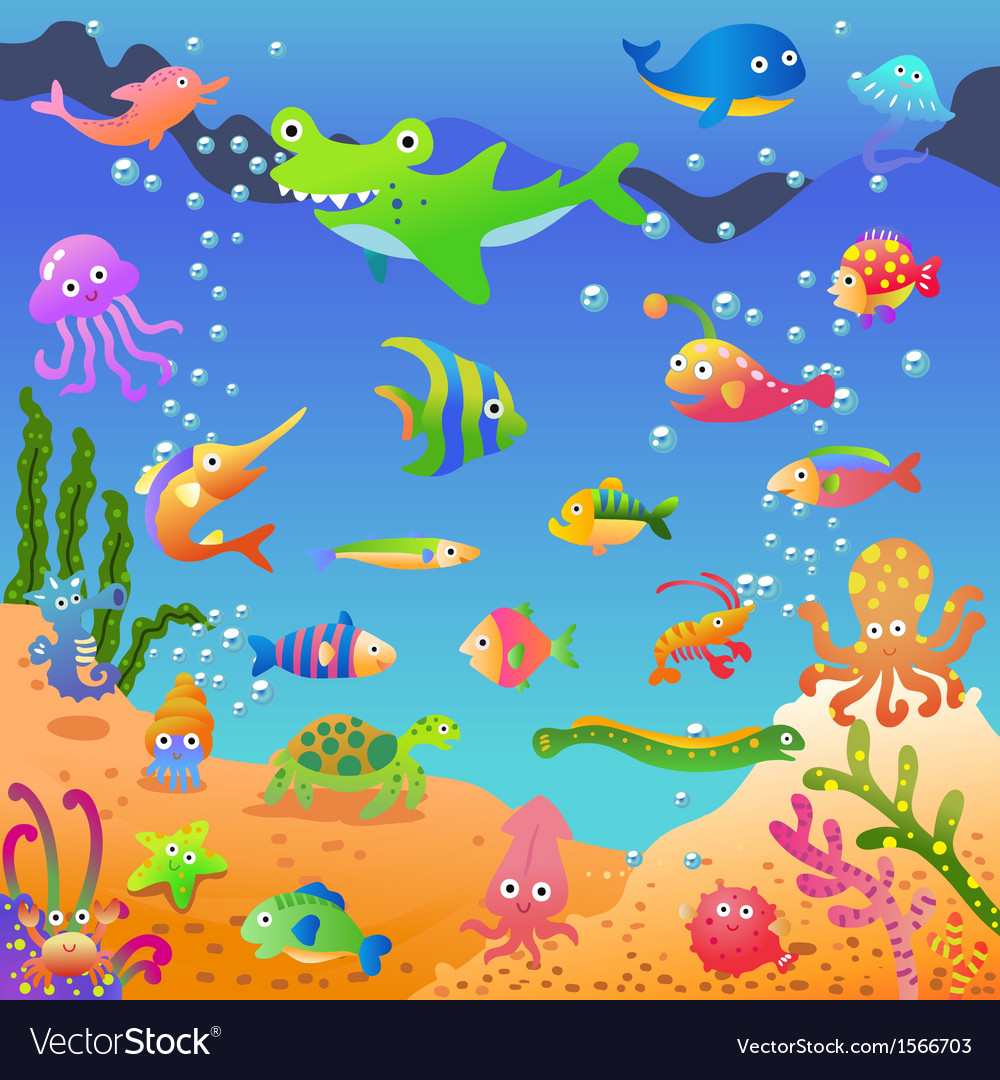 In the sea vector | Price: 1 Credit (USD $1)