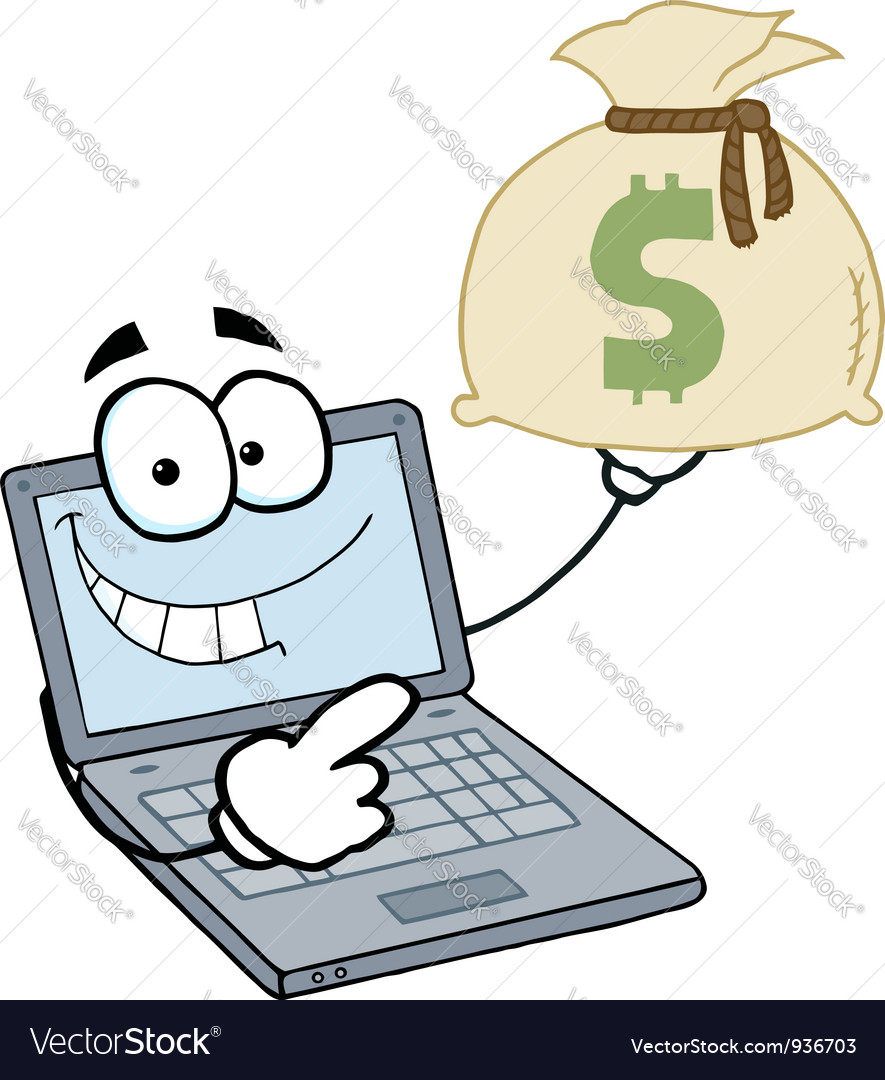 Laptop cartoon character displays money bag vector | Price: 1 Credit (USD $1)