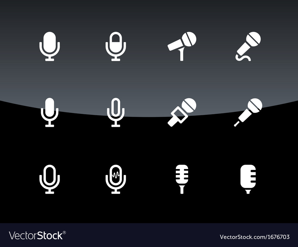 Microphone icons on black background vector | Price: 1 Credit (USD $1)