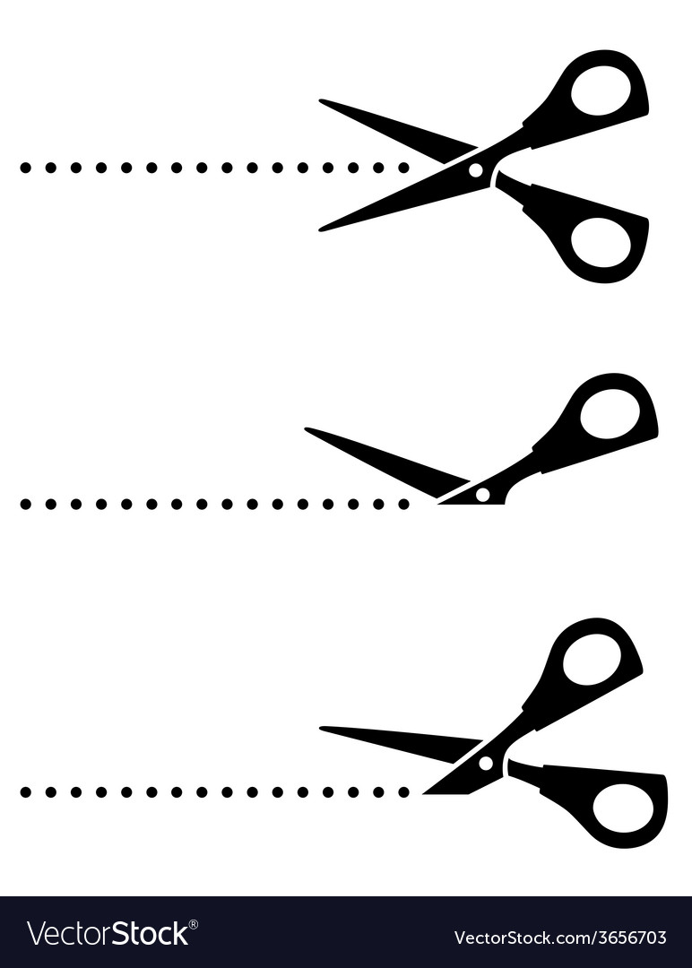Set of scissors with black points vector | Price: 1 Credit (USD $1)