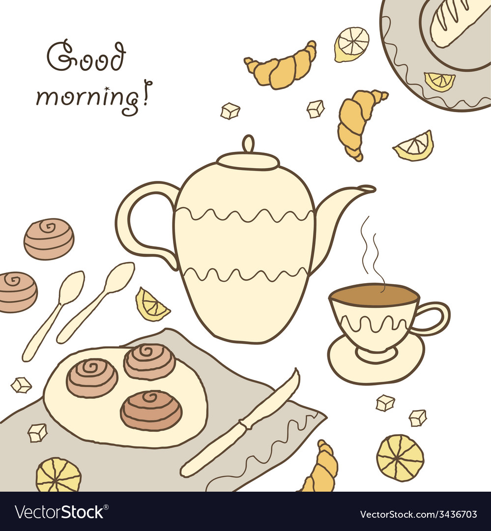 Tea coffee and sweets doodle template patern invit vector | Price: 1 Credit (USD $1)