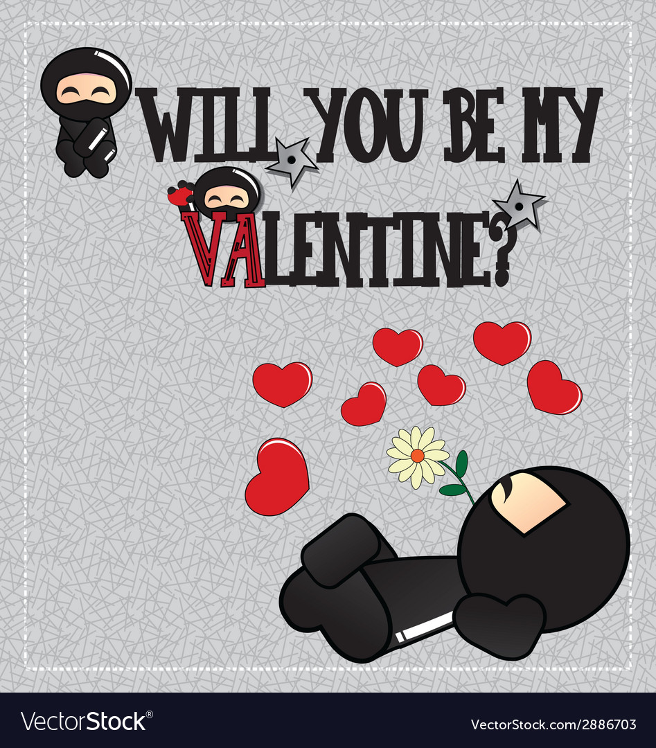 Valentines day card with cute cartoon ninja vector | Price: 1 Credit (USD $1)