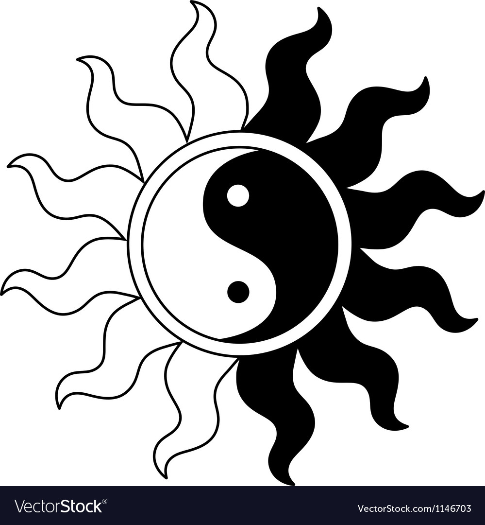Ying yang symbol in sun vector | Price: 1 Credit (USD $1)