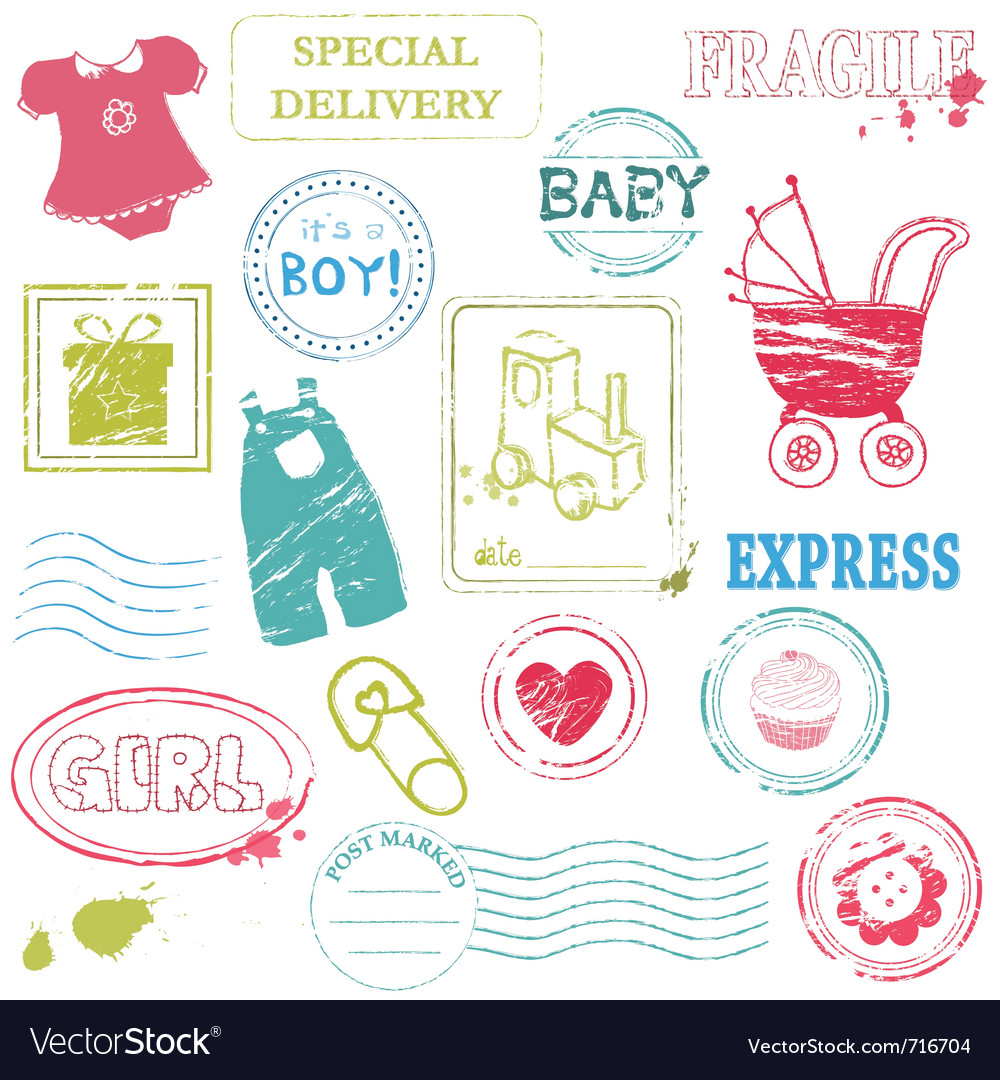 Baby stamp collection in color vector | Price: 1 Credit (USD $1)