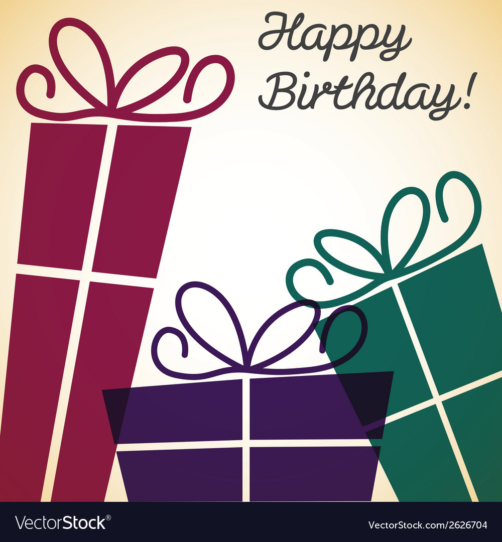 Bright retro present card in format vector | Price: 1 Credit (USD $1)