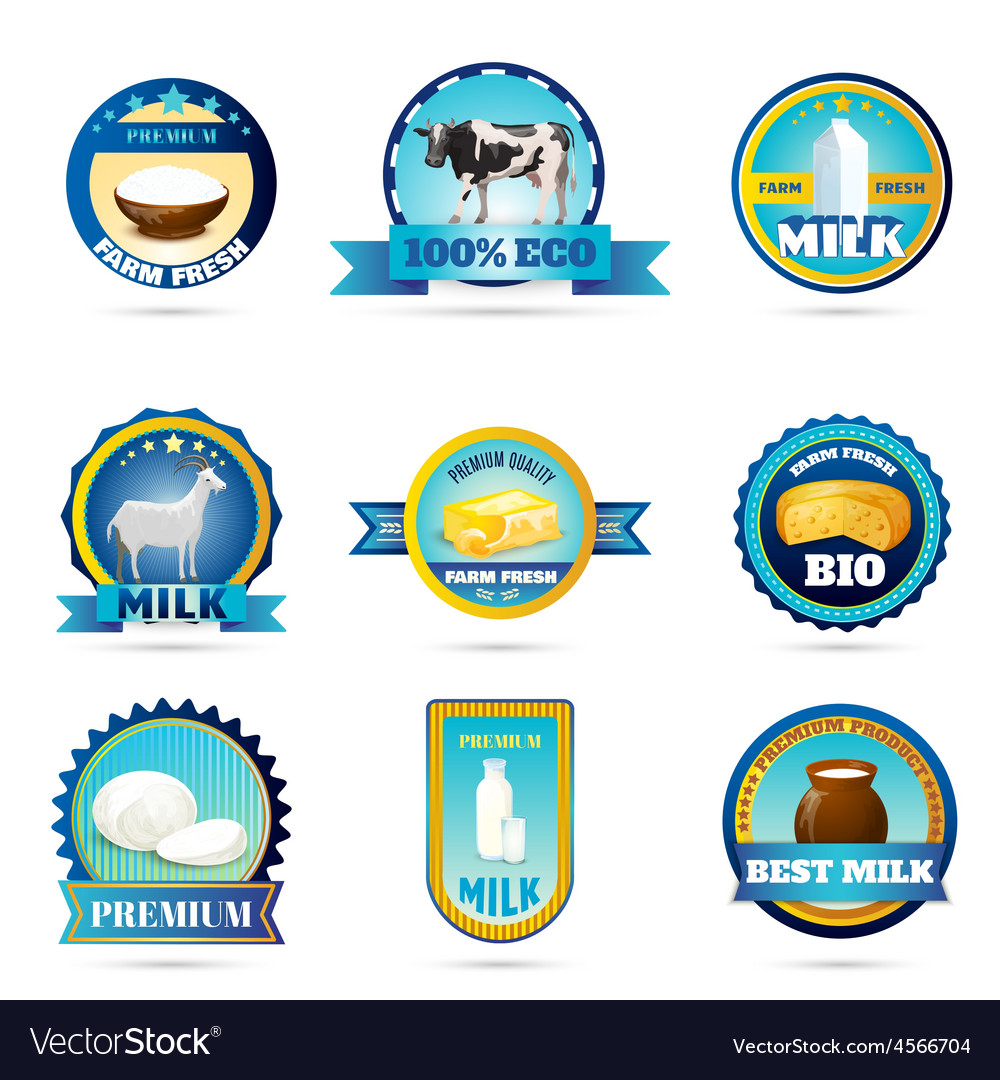 Eco farm milk dairy products labels vector   Price: 1 Credit (USD $1)