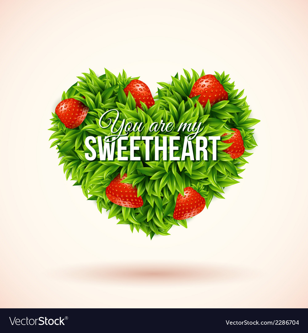 Heart shape label made of leafs romantic label vector | Price: 1 Credit (USD $1)