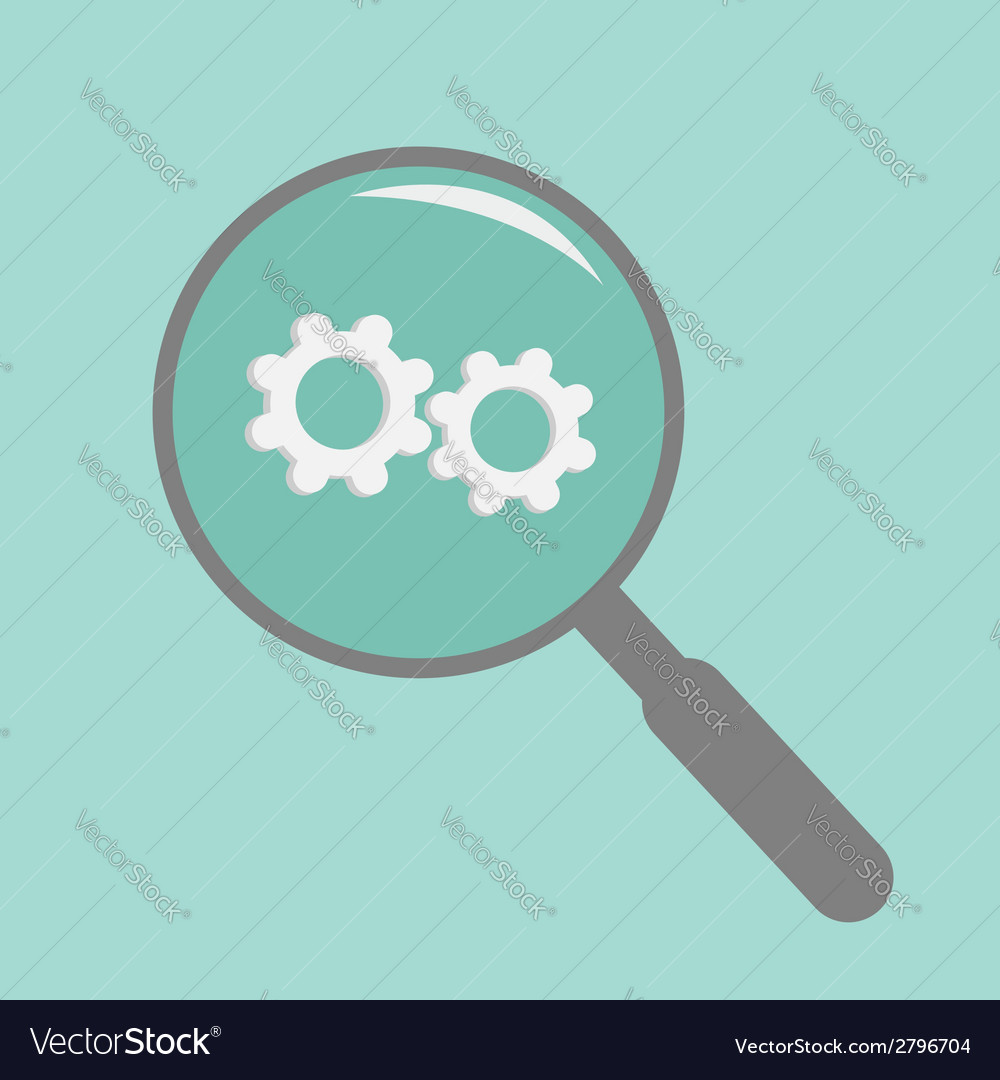 Magnifier and wheel flat design style vector | Price: 1 Credit (USD $1)