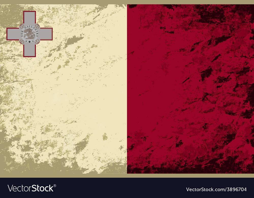 Maltese flag grunge background vector | Price: 1 Credit (USD $1)