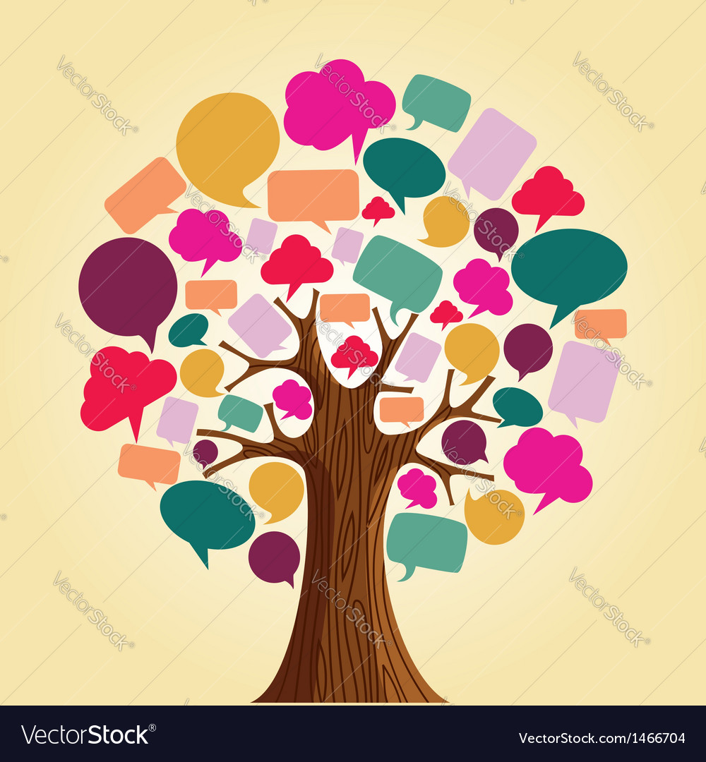 Social media network communication tree vector | Price: 1 Credit (USD $1)