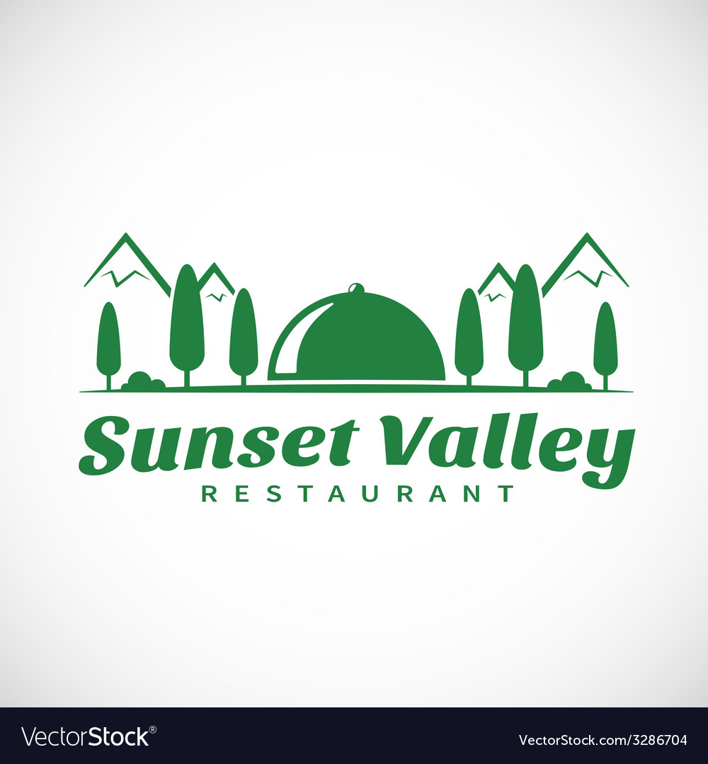 Sunset or sunrise valley abstract logo template vector | Price: 1 Credit (USD $1)