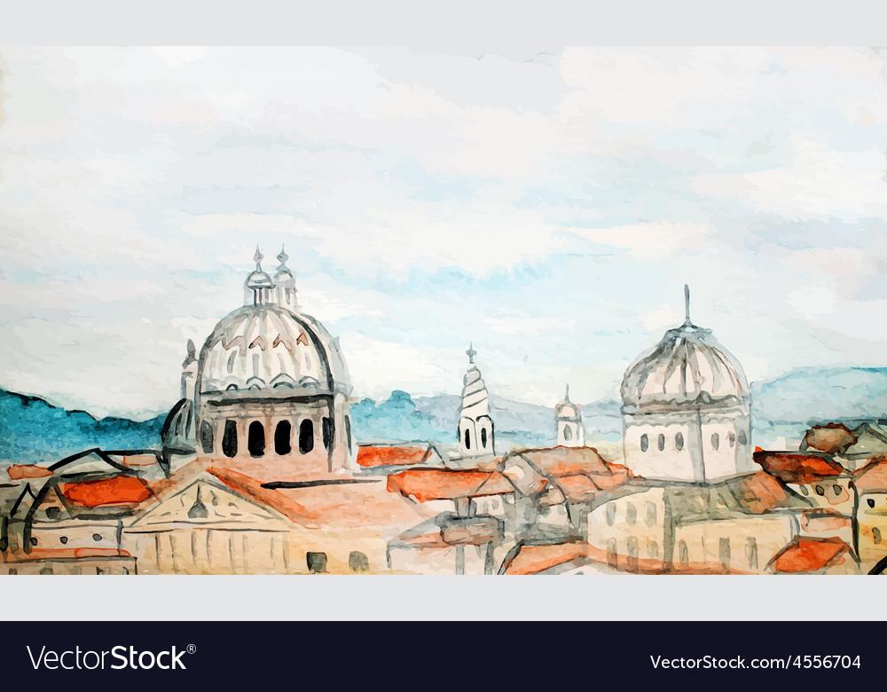 Watercolor panorama of rome vector | Price: 1 Credit (USD $1)