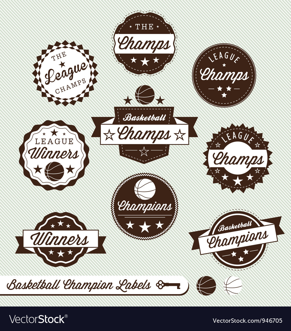 Basketball champs labels vector | Price: 1 Credit (USD $1)