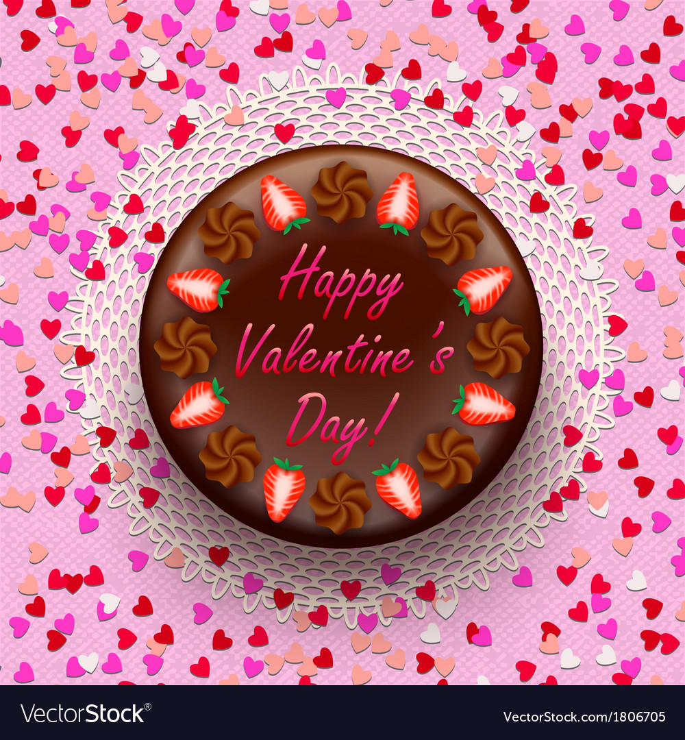 Cacao and chocolate valentine pie decorated with vector | Price: 1 Credit (USD $1)