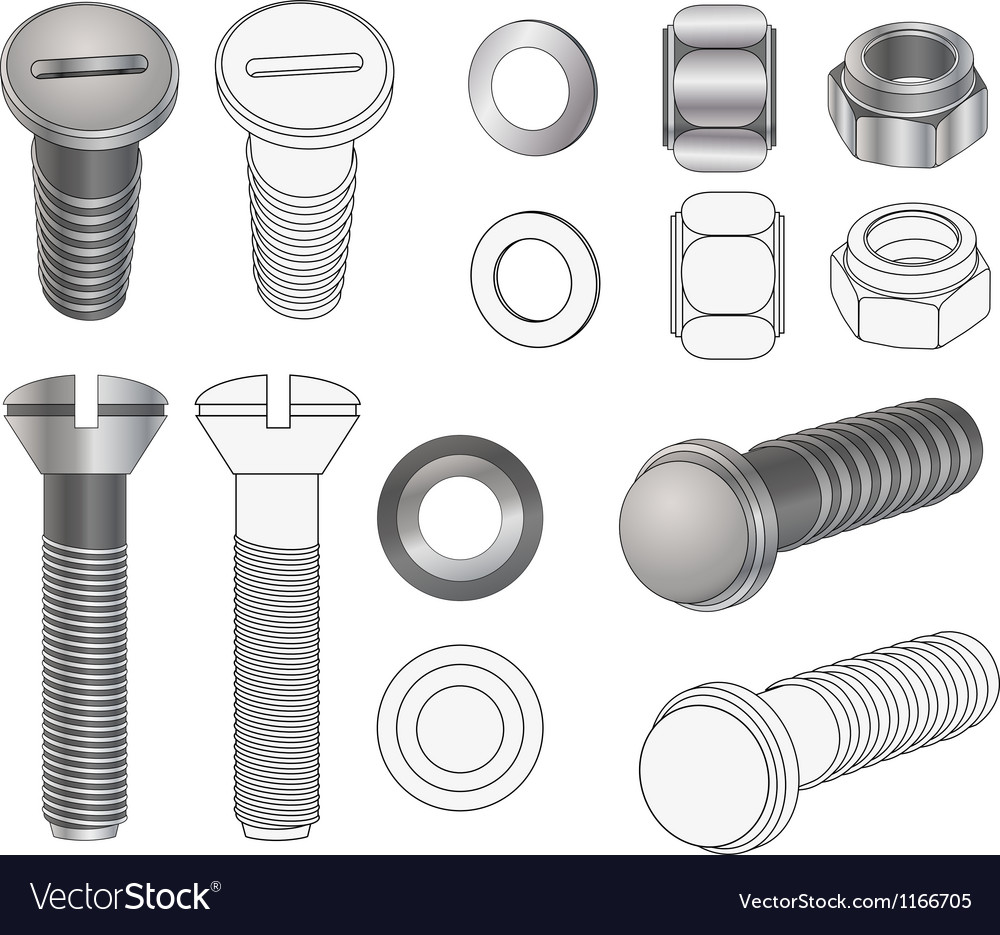 The complete set bolts and nuts vector | Price: 1 Credit (USD $1)