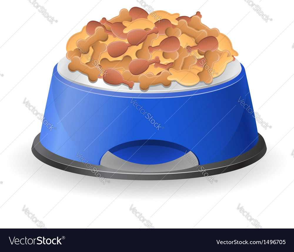 Dog bowl with food vector | Price: 1 Credit (USD $1)