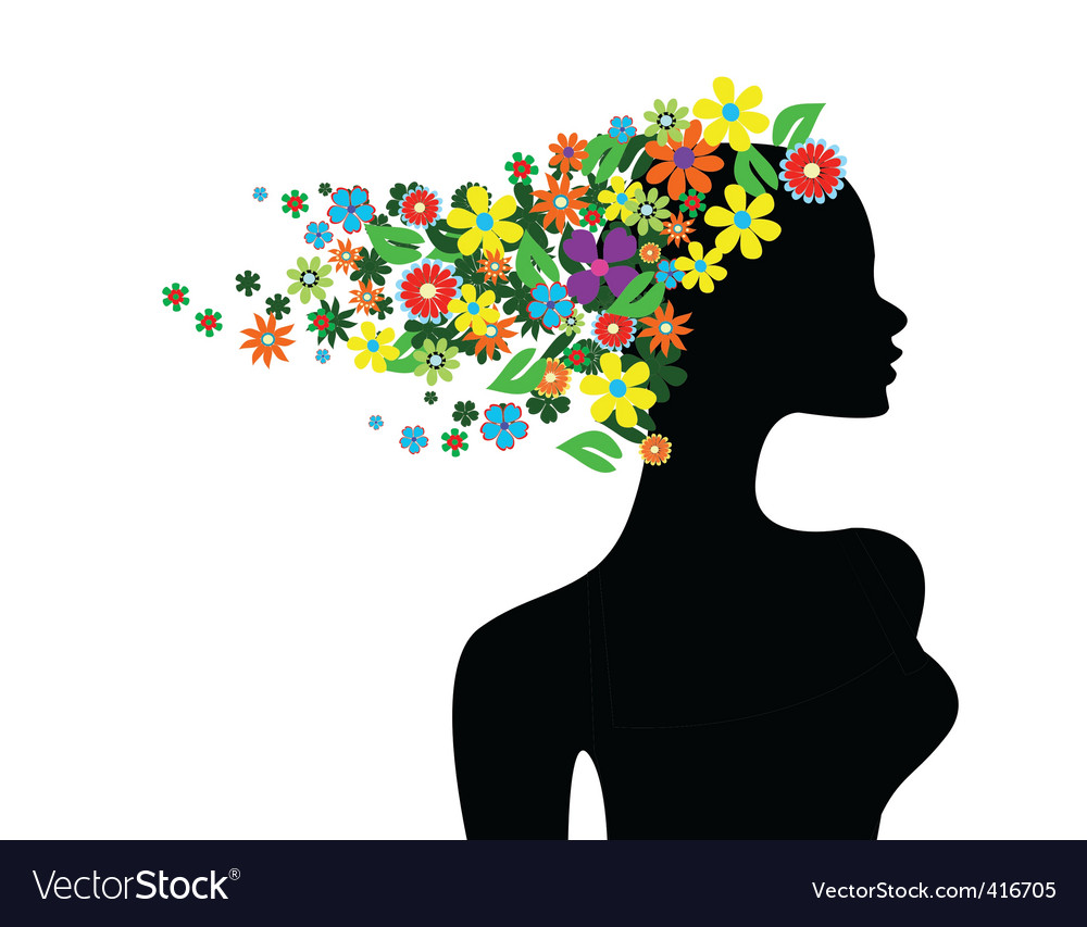 Floral girl silhouette vector | Price: 1 Credit (USD $1)