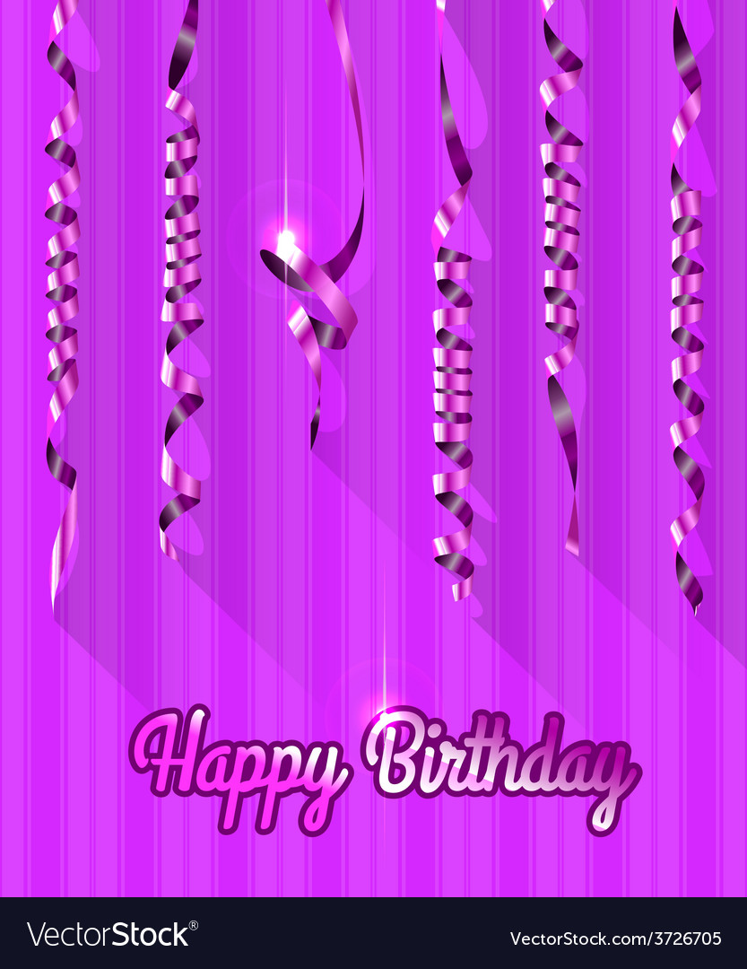 Happy birthday background with gold streamers vector | Price: 1 Credit (USD $1)