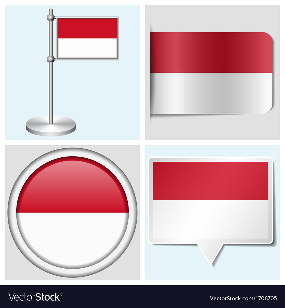 Indonesia flag - sticker button label flagstaff vector | Price: 1 Credit (USD $1)